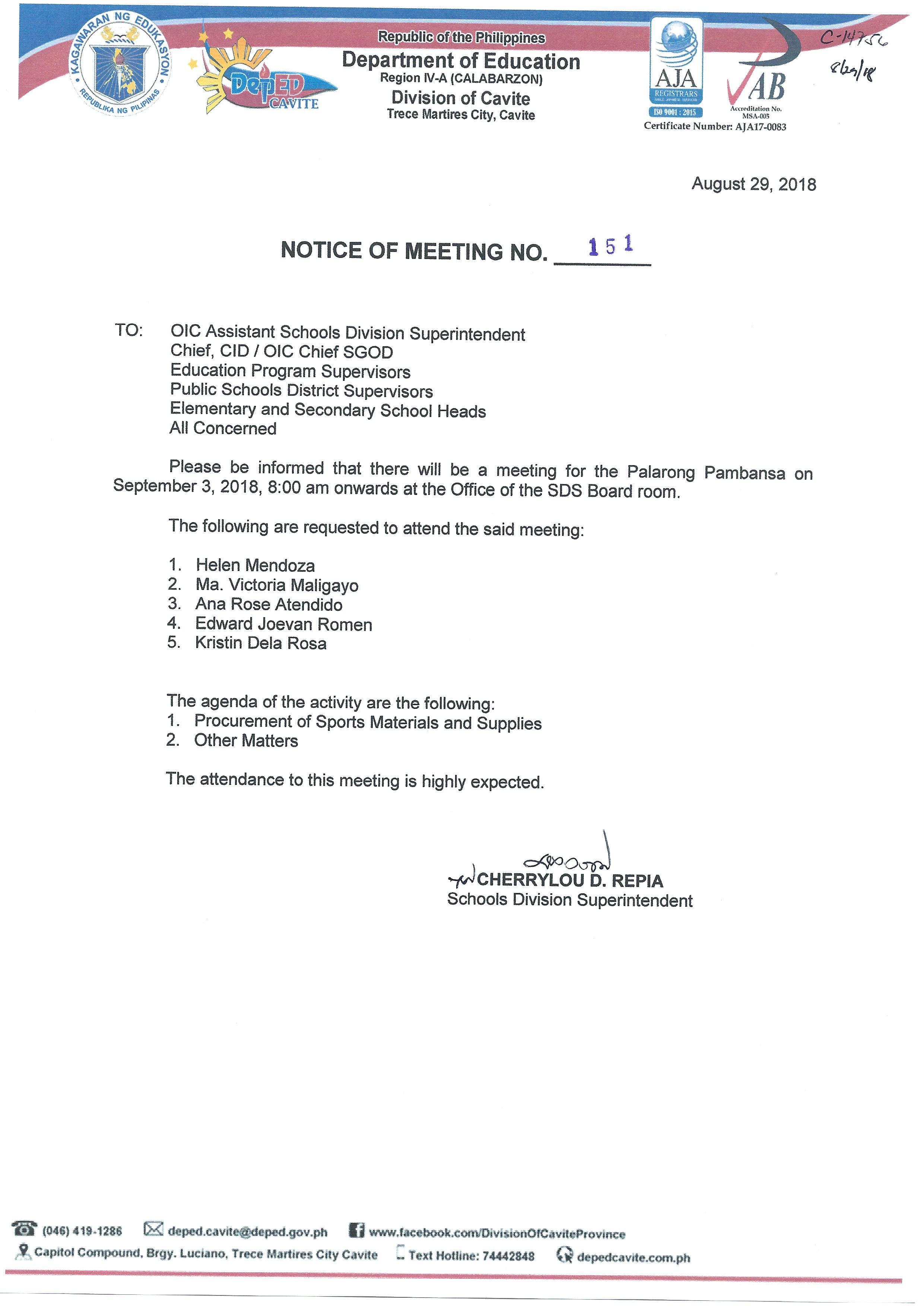 Deped cavite division memorandum No 88 Series 2012